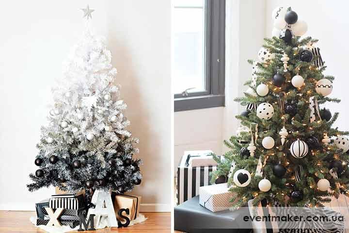 Как украсить елку в черно-белом стиле