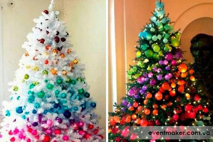 Как украсить елку радужного цвета
