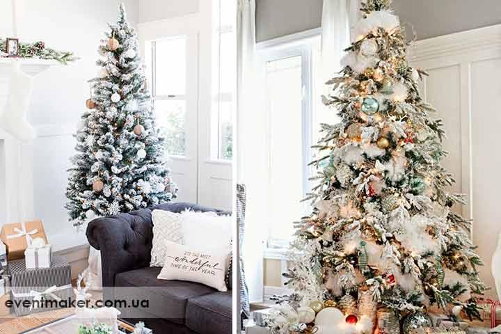 Как украсить елку в искусственном снегу
